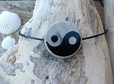 Pendentif yin et yang noir et blanc, pendentif tibétain, collier homme, pendentif talisman, cadeau homme, pendentif zen, yoga, zen