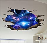 HALLOBO XXL Wandtattoo Wandaufkleber 3D Universum Galaxie Weltraum Planet Boden Aufkleber Deckeaufkleber Wandbild Wohnzimmer Schlafzimmer Kinderzimmer Deko Versand aus Deutschland