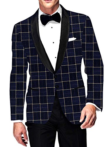 INMONARCH Mens Navy Blue Checks Blazer Bollywood SB15436R48 48 Regular Navy blau (Blue Navy Womens Blazer)