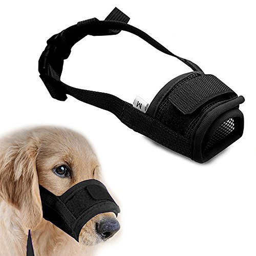 Cubrebocas para perro o mascota ajustable, bozales anti-mordedura o ladrido, bozal para perro negro o rojo cómodo, cubrebocas de malla.