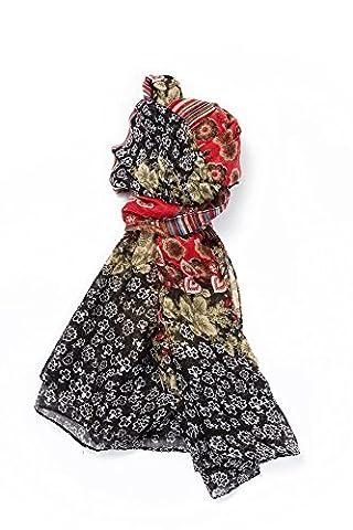 Langes Tuch XXL Schal mit Fantasiemuster Leichter Stoff Mehrfarbig 110 x 180 cm mit Blumenmuster und Streifen, Rosa, Rot,