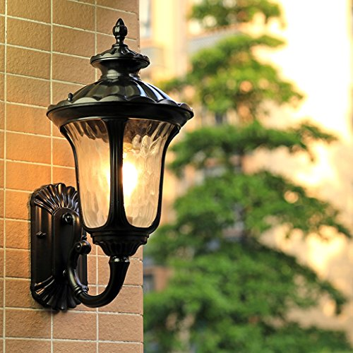 AMOS Applique murale extérieure imperméable à l'eau villa jardin jardin balcon salon couloir couloir lumières ( Couleur : Noir-S 18*38 cm )