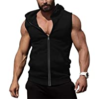 COOFANDY Men's Gym Vest Hoodie Zip Up Sleeveless Workout Shirts Bodybuilding Training Muscle Tops with Pockets