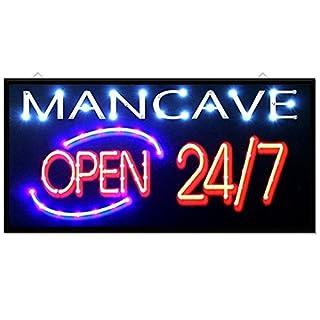 Sohler Mancave Open 247 Bar Pub Club Window Display Led Light Sign Lamp Home Restaurant Shop Disco Gift 48cm x 24cm