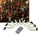 LED Christbaumkerzen mit Fernbedienung, 10 Kerzen + 1 Fernbedienung, warmweiß