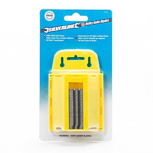 Silverline CT10 Trapezklingen für Teppichmesser 0,6 mm, 100er-Pckg.