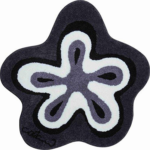 Grund COLANI Exklusiver Designer Badteppich 100% Polyacryl, ultra soft, rutschfest, ÖKO-TEX-zertifiziert, 5 Jahre Garantie, Colani 1, Badematte 120 cm rund, anthrazit