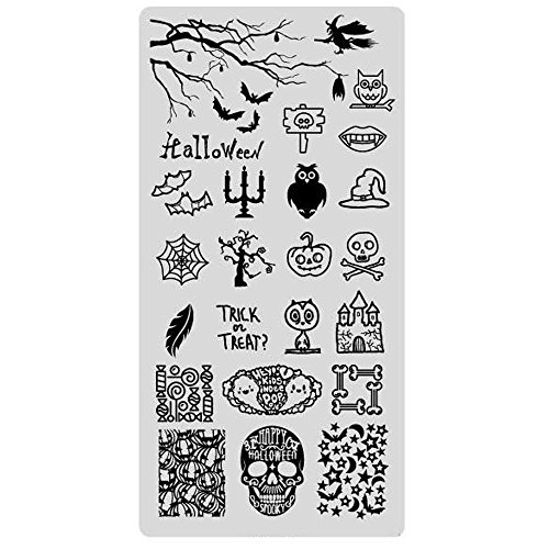 Stamping Schablone Halloween Nailart Totenkopf Grusel Party