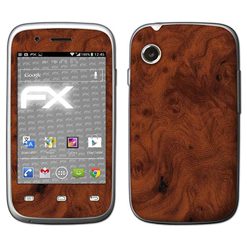 atFolix Skin kompatibel mit Wiko Ozzy, Designfolie Sticker (FX-Wood-Root), Holz-Struktur/Holz-Folie