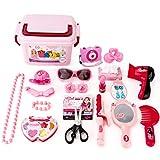 PHYENDI Schmink Set, 23-tlgs Kinder schminkset aus Kunststoff Schminksachen Schönheit Prinzessin Koffer Rollenspiel Spielzeug für Mädchen