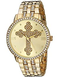 eWatchFactory Men's 'EW Cross Religious' Quartz Metal and Stainless Steel Casual Watch, Color:Gold-Toned (Model: PW00208)