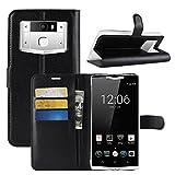 HualuBro Oukitel K10000 Pro Hülle, Premium PU Leder Leather Wallet HandyHülle Tasche Schutzhülle Flip Case Cover mit Karten Slot für Oukitel K10000 Pro Smartphone (Schwarz)
