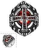 AMDXD Bijoux En acier Inoxydable Hommes Argent Noir Gothique Bagues Croix Fme Rouge Pierre Taille 56.5