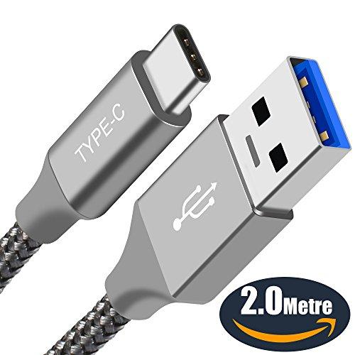 USB C Kabel,ICONIC Type C Ladekabel(2 Meters)Nylon Geflochtene Schnur Schnell Ladekabel Datenkabel für Galaxy S8 Plus s8 Note 8,Huawei P10 P9,Sony Xperia XZ,Lumia 950 XL,Nexus 5X 6P,OnePlus 2 3(Grau)
