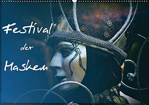 Festival der Masken (Wandkalender 2020 DIN A2 quer): Kunstvolle venezianische Masken (Monatskalender, 14 Seiten ) (CALVENDO ()