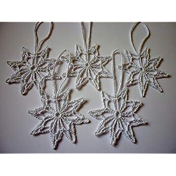 5 Häkelsterne 7cm weiß-silber gehäkelt Weihnachtsdeko