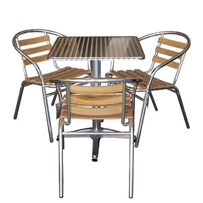 4tlg. Bistro-Set Gartentisch 60x60cm + 3x Aluminium Bistrostuhl Holzauflage Gartenmöbel Bistromöbel Terrassenmöbel Balkonmöbel Gartengarnitur Terrassengarnitur Sitzgruppe Sitzgarnitur