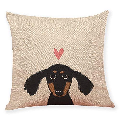 JYC Clearance Cute Dog Head Cushion Covers, Pillow Cover Cushion Case, Throw Pillowcase, Linen Blend Square Shape, Bed Sofa Car Home Decor, 45cm x 45cm (# D)