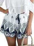 Simplee Apparel Damen Sommer Shorts High Waist Bmumen Stickerei Hot Pants Baumwolle Kurz Hose mit Quasten-Tunnelzug Beach Shorts Weiß