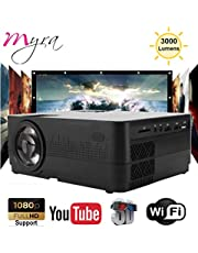 Myra Q3 Smart WiFi/Miracast with 3000lumens 1280 * 720P LED Projector Portable, Supports 1080P, WiFi, HDMI, USB, VGA, AV Devices for Home Theater Movie Laptop Game Party (Black)
