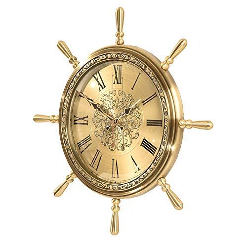 CDZJP Nautische Thema Wanduhr Rad Ruder Lenkung Wandbehang Wohnzimmer Moderne minimalistische atmosphärische Uhren aus reinem Kupfer hängenden Tisch,A