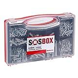 fischer SOS-BOX Sortimentsbox - Spreizdübel S und Universaldübel FU und die passenden Schrauben zur Befestigung von Leuchten, Gardinenschienen, Elektroinstallationen uvm. - 360 Teile - Art.-Nr. 533629