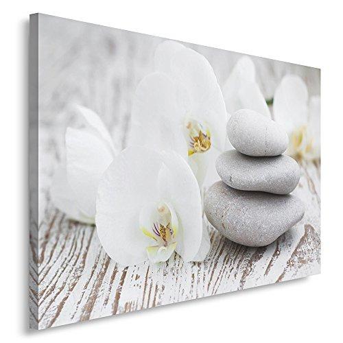 Feeby. Tableau Déco - 1 partie - 60x80 cm, Impression sur Toile Décoration Murale Image Imprimée, ZEN, ORCHIDÉE, BLANC, GRIS