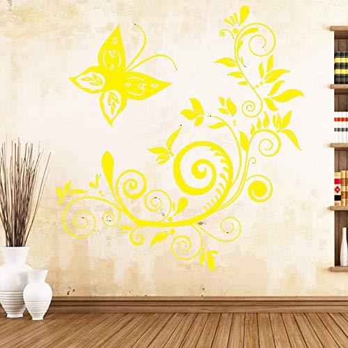Cute Butterfly Art Sticker Adesivi murali impermeabili per soggiorno Camera dei bambini Decorazione murale Murales giallo 30 X 32