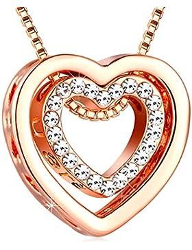 Kette Damen Herz Anhänger rosegold -Murtoo mit Kristallen von SWAROVSKI und gravur
