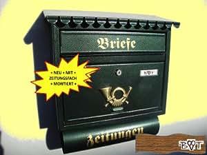 sch ner design briefkasten f gr n moosgr n gro er einwurf zeitungsfach zeitungsrolle nostalgie. Black Bedroom Furniture Sets. Home Design Ideas