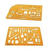 Baoblaze 2 pcs Kunststoff Multifunktionale Zeichnungsvorlage Zeichnung Lineal Technisches Zeichnen Abrundungsschablone