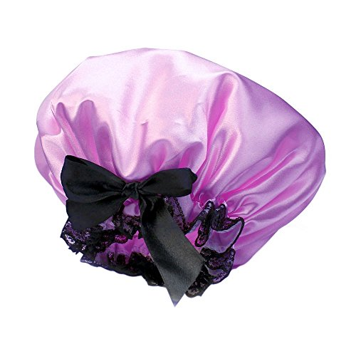 raso-doppio-strato-impermeabile-elastico-capelli-bagno-cap-hat-doccia-con-fiocco-e-pizzo-purple