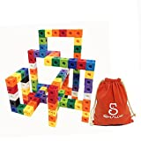 SHAWE Kids Toys, 100 Piece Magic Cubes Set,Creative and Educational Alternative to Mathlink Building Blocks - Kids Safe Material! Package in Adorable Bag (100 Pieces Cubes)