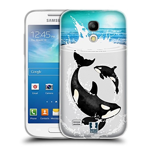 Head Case Designs Orca Meerestiere Soft Gel Hülle für Samsung Galaxy S4 mini I9190 (Orca-duo)