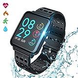 COULAX Smartwatch Fitness Armband Wasserdicht IP67 Fitness Tracker Uhr 1,3 Zoll Farbbildschirm Aktivitätstracker Pulsuhren Schlafmonitor Sportuhren für Damen Herren Stoppuhr für iOS Android