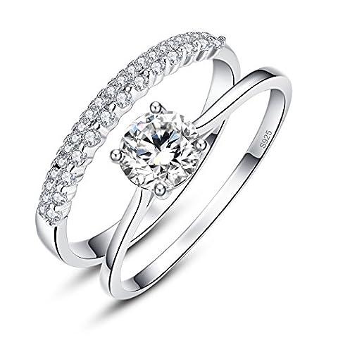 Bonlavie Women's 925 Sterling Silver Wedding Anniversary Ring Set With