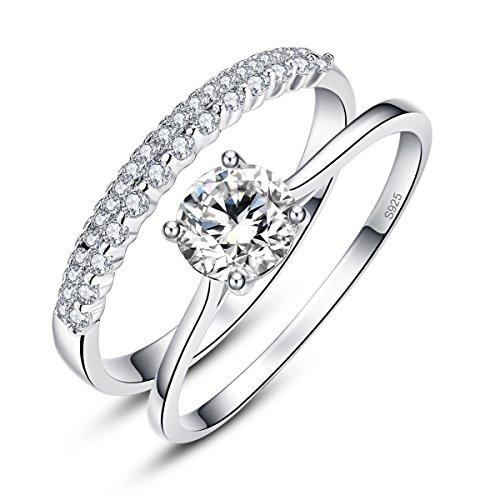 BONLAVIE 0,9 ct massiv 925 Sterling Silber weiß Zirkonia Ring Set für Braut Hochzeit Band Verlobungsring (62 (19.7)) (Herzen Ringe Für Frauen Unter $5)