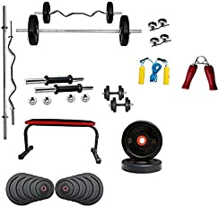 BodyKare & Company Flat Bench(Curved Shape)+60 kg Weight Plates (PVC) + 3Ft curl Rod + 5ft Straight Rod with Locks + Pair of Dumble rods (Free Hand Grip, Skipping Rope)