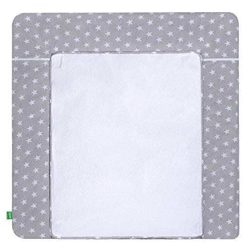 LULANDO Wickelauflage mit 2 abnehmbaren und wasserundurchlässigen Bezügen. 76 x 76 cm. Oberstoff 100% Baumwolle. Passend u.a. für die Kommode IKEA Malm, Farbe: White Stars / Grey