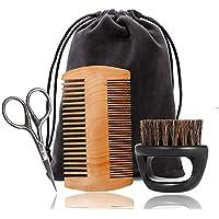 DDG EDMMS 4 pieza barba barba kit de aseo tijeras peine tablero de recorte cepillo de pelo de la forma de conformación y el crecimiento con herramientas para la conformación de bolsa de viaje perfecta simetría de afeitar Cuidado Personal