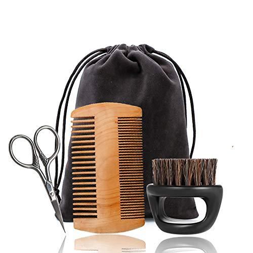 4 Stück Bart Grooming Kit Moustache Trimmen Brett Borsten Pinsel Kamm Schere für Styling-Gestaltung und Wachstum mit ReiseTasche Form Werkzeug für die perfekte Rasier ()