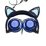 Niños auriculares con cable auriculares de plegable auriculares orejas de gato auriculares Glowing luces con USB cable de carga para iPhone, teléfono Android, ordenador portátil, Tablet, PC, MP3, MP4Player