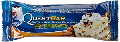 Quest Nutrition Protein Bar Vanilla Almond Crunch, 12 x 60 g, 1er Pack (1 x 720 g) (Vanille-quest Protein)