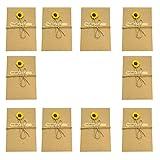 Monbedos 10 Grußkarten Handmade Retro Umschlag Blumen Postkarte, Beste Geschenk für Muttertag oder Valentinstag, Hochzeit Einladungen, Papier, Sunflower-l, 6.89*4.33 inch(175*110 mm)