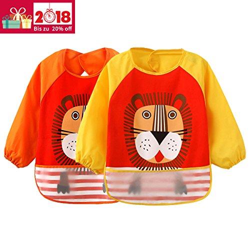 2er Pack Baby lätzchen mit ärmeln Wasserdicht - Essen und Play Smock Schürze für Kleinkinder von 6 - 36 Monate (Orange/Gelb Löwe) (Große Wasserdichte Baby Lätzchen)