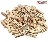 100 Stück Creativ Discount® Mini Holz-Wäscheklammern zum Basteln und für tolle Deko-Ideen, in Natur-Holzfarbe, Länge: 25 mm., Breite: 3 mm.