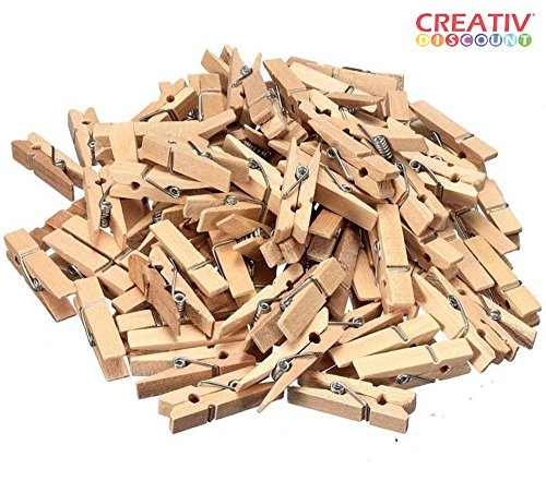 100 Stück Creativ Discount® Mini Holz-Wäscheklammern zum Basteln und für tolle Deko-Ideen, in...