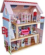 Kidkraft Chelsea Doll Cottage Wooden Dolls House with Furniture and Accessories Included (3 Storey Play Set fo