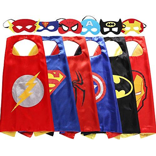 Zaleny Superheld Verkleidungskostüme 6 Satincapes mit (Jungen Allerheiligen Kostüme Für)