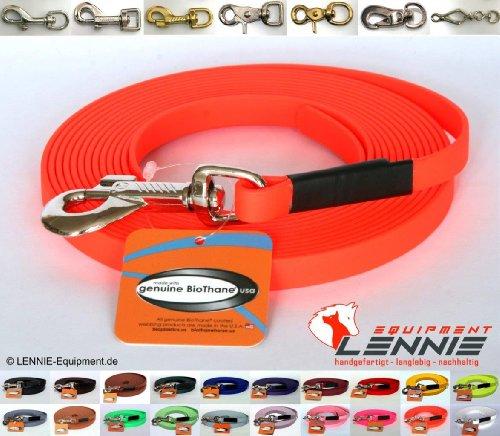 BioThane® Schleppleine 19 mm in 25 Farben [Neon-Orange] / 1-30 Meter [10m] / genäht / ohne Handschlaufe